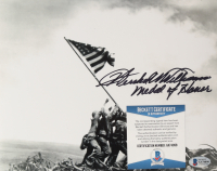 """Hershel W. Williams Signed """"Raising the Flag On Iwo Jima"""" 8x10 Photo Inscribed """"Medal Of Honor"""" (Beckett COA) at PristineAuction.com"""