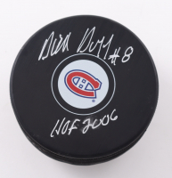 """Dick Duff Signed Canadiens Logo Hockey Puck Inscribed """"HOF 2006"""" (Schwartz Sports COA) at PristineAuction.com"""