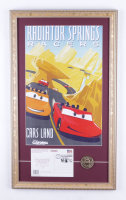 """Disneyland Cars Land """"Radiator Springs Racers"""" 15x25 Custom Framed Print Display with Grand Opening Day Envelope & Pin at PristineAuction.com"""