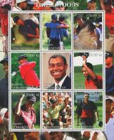 Tiger Woods Full Uncut Postcard Stamp Sheet at PristineAuction.com