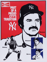 Yankees Vintage 1970s Budweiser Heavy Cardboard Stand-Up Sign with Yogi Berra & Thurman Munson (See Description) at PristineAuction.com