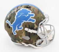 Barry Sanders Signed Lions Full-Size Camo Alternate Speed Helmet (Schwartz COA) at PristineAuction.com