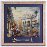 """Thomas Kinkade """"Minnie Mouse Shopping in Beverly Hills"""" 16x16 Custom Framed Print Display with Set of (2) Mickey & Minnie Mouse Pins (See Description) at PristineAuction.com"""