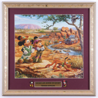 """Thomas Kinkade """"Mickey and Minnie of Safari"""" 16x16 Custom Framed Print Display with Set of (2) Mickey & Minnie Mouse Pins (See Description) at PristineAuction.com"""