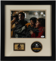 """""""The Goonies"""" 15.5x17 Custom Framed Photo Display Cast-Signed by (4) with Sean Astin, Jeff Cohen, Corey Feldman, & Ke Huy Quan with (4) Character Inscriptions (JSA COA) at PristineAuction.com"""