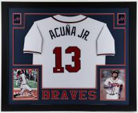 Ronald Acuna Jr. Signed 35x43 Custom Framed Jersey Display (JSA Hologram) at PristineAuction.com