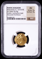 Mithradates VI - 120-63 BC - Pontic Kingdom AV Stater Ancient Gold Coin - Alexander III / Athena Callatis. Lysimachus Type (NGC AU) at PristineAuction.com