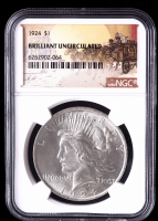 1924 $1 Peace Silver Dollar (NGC Brilliant Uncirculated) at PristineAuction.com