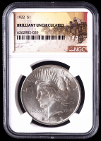 1922 $1 Peace Silver Dollar (NGC Brilliant Uncirculated) at PristineAuction.com