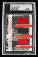 Muhammad Ali / Mike Tyson / Lennox Lewis LE 2010 Famous Fabrics Triple Memorbilia #6 (Famous Fabrics Encapsulated) at PristineAuction.com