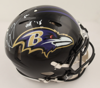 """Ray Lewis Signed Ravens Full-Size Authentic On-Field Speed Helmet Inscribed """"HOF 18"""" (Beckett COA & Denver Autographs COA) (See Description) at PristineAuction.com"""