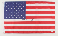 """U.S. Navy SEAL Robert O'Neill Signed 18x30 American Flag Inscribed """"Never Quit!"""" (PSA COA) at PristineAuction.com"""