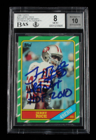 """Jerry Rice Signed 1986 Topps #161 RC Inscribed """"Goat"""" & """"HOF 2010"""" (BGS 8) at PristineAuction.com"""