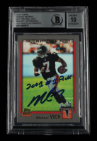 """Michael Vick Signed 2012 Topps Rookie Reprint #311 Inscribed """"2001 #1 Pick"""" (BGS Encapsulated) at PristineAuction.com"""