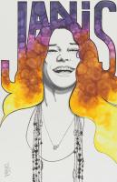 Tom Hodges - Janis Joplin - Signed 11x17 ORIGINAL Artwork (PA COA) at PristineAuction.com