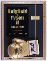 Mike Tyson Signed 17x22 Custom Framed Boxing Glove Display with Original MGM Grand on Site Fight Program (PSA COA) at PristineAuction.com
