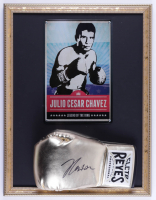 Julio Cesar Chavez Signed 17x22 Custom Framed Official Cleto Reyes Boxing Glove Display with Tin Photo (PSA COA) at PristineAuction.com