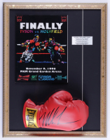 Mike Tyson Signed 17x22 Custom Framed Boxing Glove Display with Original on Site 1996 MGM Grand Fight Program (PSA COA) (See Description) at PristineAuction.com
