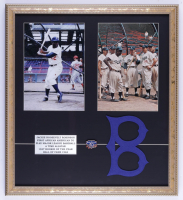 Jackie Robinson Dodgers 19x21 Photo Display with Special Edition Bronze Emblem & Cloth Patch Set (See Description) at PristineAuction.com