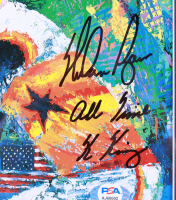 """Nolan Ryan Signed Astros 13x18 Custom Framed Leroy Neiman Print Display Inscribed """"All Time K King"""" With Hall of Fame Induction Pin (PSA COA) (See Description) at PristineAuction.com"""