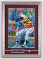 """Nolan Ryan Signed Astros 13x18 Custom Framed Leroy Neiman Print Display Inscribed """"324 Wins"""", """"5,714 K's"""", & """"7 No-Hitter"""" With Hall of Fame Induction Pin (PSA COA) (See Description) at PristineAuction.com"""