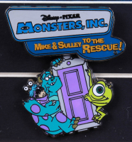 """Disney Pixar """"Monsters, Inc."""" 15x22 Custom Framed Disneyland """"Mike and Sully to The Rescue"""" Ride Poster with Ride Pin (See Description) at PristineAuction.com"""