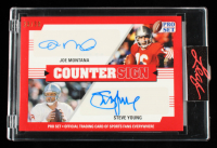 Joe Montana / Steve Young 2021 Leaf Pro Set Sports Countersign Red #CS02 #23/30 at PristineAuction.com