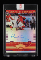 Patrick Mahomes 2020 Panini Plates and Patches Leaps and Bounds Autographs Purple #7 03/20 at PristineAuction.com