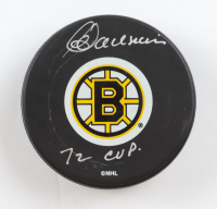 "Carol Vadnais Signed Bruins Logo Hockey Puck Inscribed ""72 Cup"" (Beckett COA) (See Description) at PristineAuction.com"