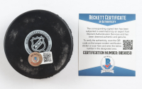 John Bucyk Signed Bruins Logo Hockey Puck (Beckett COA) (See Description) at PristineAuction.com