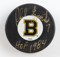 "Phil Esposito Signed Bruins Logo Hockey Puck Inscribed ""HOF 1984"" (Beckett COA) at PristineAuction.com"