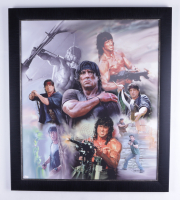 "Sylvester Stallone Signed ""Rambo"" 25x29 Custom Framed Canvas Display (JSA Hologram) at PristineAuction.com"