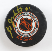 Eddie Johnston Signed 1997-1998 Flyers Stanley Cup Champions Carbon Copy Logo Hockey Puck (Beckett COA) at PristineAuction.com