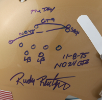 """Rudy Ruettiger Signed Notre Dame Fighting Irish Full Size Helmet Inscribed """"The Play"""" with Hand-Drawn Play (Beckett COA & Ruettiger Hologram) at PristineAuction.com"""