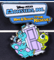 """Disney Pixar """"Monsters, Inc."""" 15x22 Custom Framed Poster with Ride Pin at PristineAuction.com"""