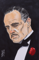 """Tom Hodges - Don Corleone - """"The Godfather"""" - Signed ORIGINAL 5.5"""" x 8.5"""" Drawing on Paper (1/1) at PristineAuction.com"""