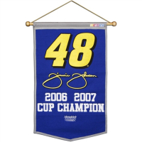 Jimmie Johnson NASCAR Champions Logo Banner at PristineAuction.com