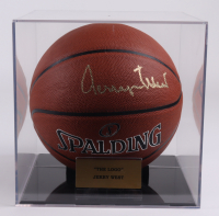 Jerry West Signed NBA Basketball With Display Case (PSA COA) (See Description) at PristineAuction.com