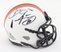 Odell Beckham Jr. & Jarvis Landry Signed Browns Lunar Eclipse Alternate Speed Mini Helmet (Beckett COA) at PristineAuction.com
