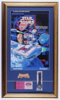 """Disneyland """"Star Tours"""" 15x26 Print Display with Vintage Disneyland Ticket Book, Ride Opening Watch in Original Packaging & Disneyland Cast Member Patch at PristineAuction.com"""