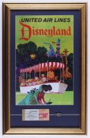 """Disneyland """"United Air Lines"""" 16x25 Custom Framed Print with Ticket Book & Vintage Jungle Cruise Pin at PristineAuction.com"""