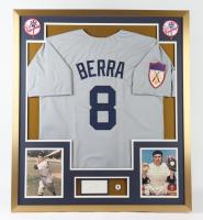 Yogi Berra Signed 32x36 Custom Framed Cut Display with #8 Jersey Pin (Beckett) (See Description) at PristineAuction.com