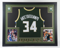 Giannis Antetokounmpo Signed 43.5x35.5 Custom Framed Jersey Display (JSA COA) at PristineAuction.com