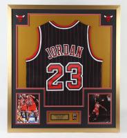 Michael Jordan 32x36 Custom Framed Jersey Display with 6x NBA Bulls Champions Pin at PristineAuction.com