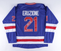 """Mike Eruzione Signed Jersey Inscribed """"80 Gold"""" & """"Miracle On Ice"""" (Beckett COA) at PristineAuction.com"""
