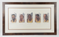Lakers 28.5x46.5 Custom Framed LE Lithograph Signed by (5) with Wilt Chamberlain, Jerry West, Magic Johnson, Elgin Baylor, & Kareem Abdul-Jabbar (Beckett ALOA) (See Description) at PristineAuction.com