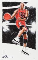 "Tom Hodges - Michael Jordan - Bulls - Signed 11"" x 17"" Lithograph LE #/23 (PA COA) at PristineAuction.com"