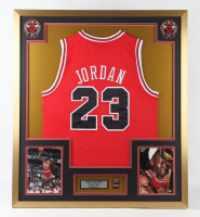 Michael Jordan 32x36 Custom Framed Jersey Display with 6x NBA Bulls Champions Pin (See Description) at PristineAuction.com