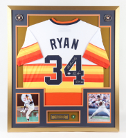 """Nolan Ryan Signed 32x36 Custom Framed Jersey Display with 1999 HOF Induction Pin Inscribed """"5.714 K's"""" & """"All Time K King"""" (PSA COA) at PristineAuction.com"""