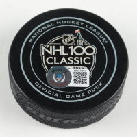 Guy LaFleur Signed NHL 100 Classic Hockey Puck (Beckett COA) at PristineAuction.com